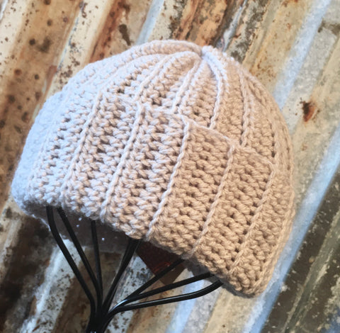 Simple Grey Knit Stitch Crochet Beanie Hat