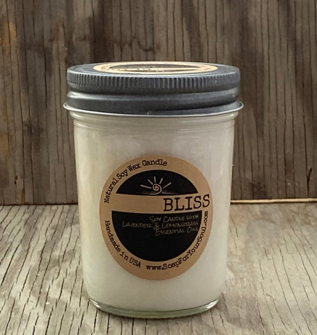 BLISS - Essential Oil Candles  - Lavender Lemongrass Blend