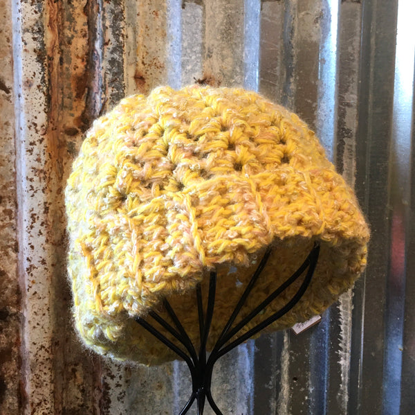 Yellow Patterned Crochet Beanie Hat