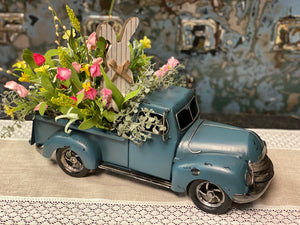 Floral Blue Truck with Bunny