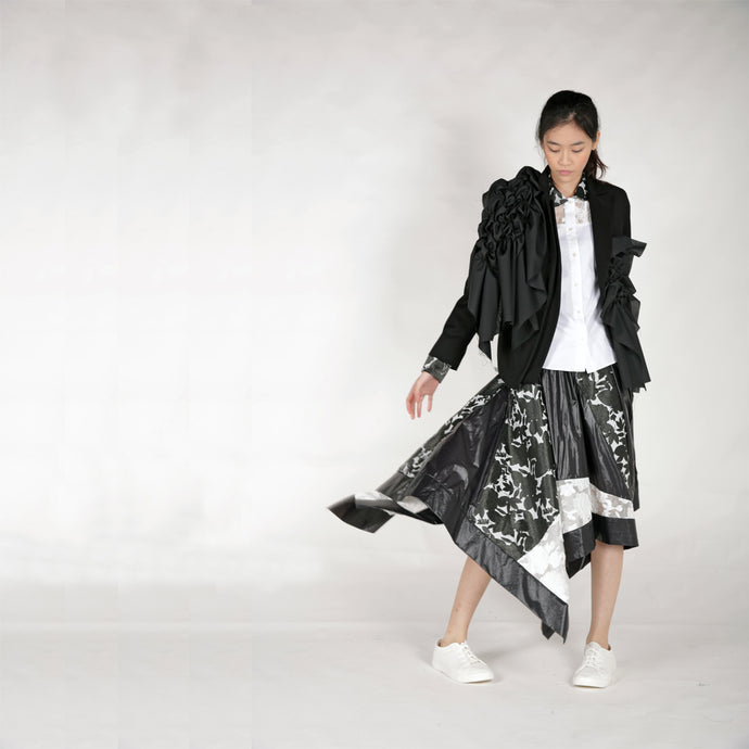 Jacket - Gathered Panels & Double Lapels - phenotypsetter, fashion designer label, unisex, women, accessories