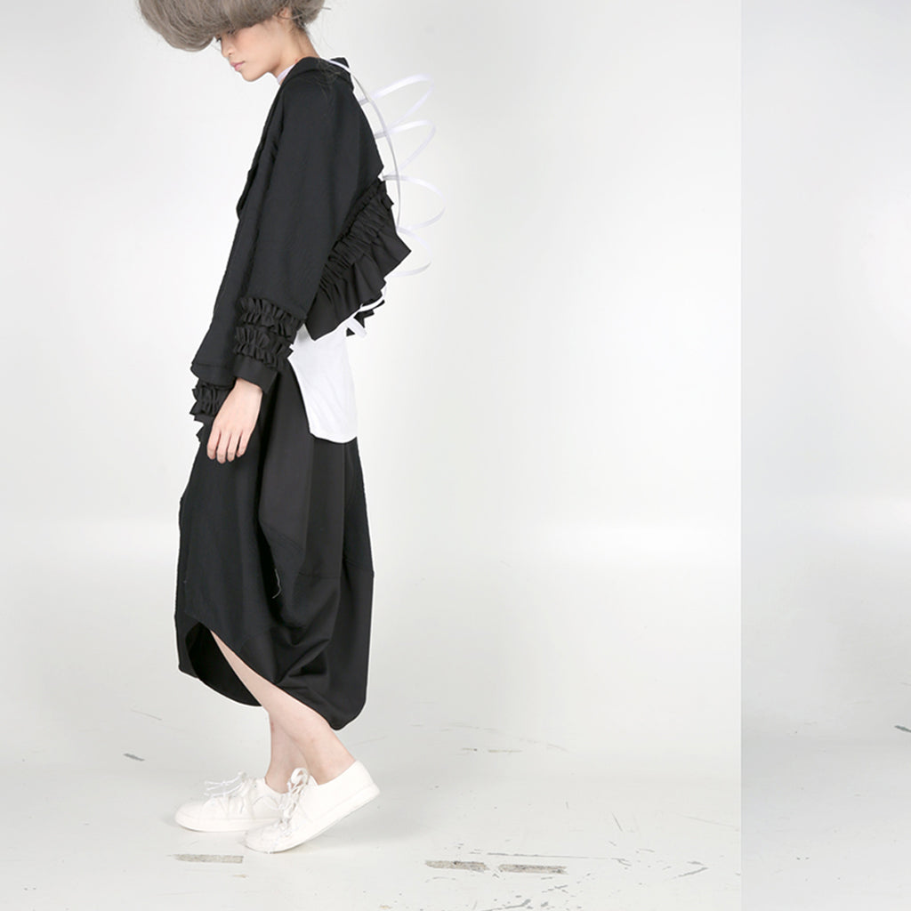 Jacket - Asymmetric Length with Ruffles