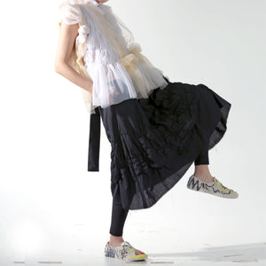 Skirt - Shirring A Line with Braided Suspender - phenotypsetter, fashion designer label, unisex, women, accessories