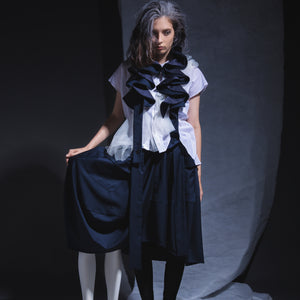 Skirts - Drop Cocoon with circular Ruffle Suspender - phenotypsetter, fashion designer label, unisex, women, accessories