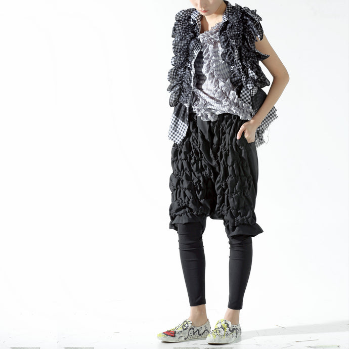 Trousers - Drop Crotch and Shirring Shorts - phenotypsetter, fashion designer label, unisex, women, accessories