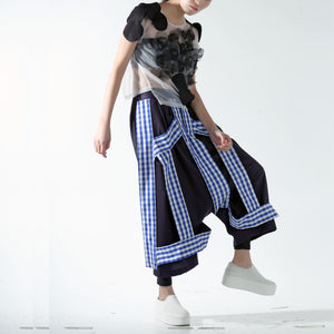 Trousers - Structured Tapes on Drop Crotch Wide Legs - phenotypsetter, fashion designer label, unisex, women, accessories