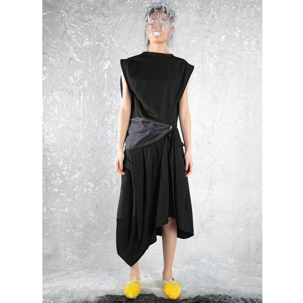 Asymmetric Cocoon Dress with zipper - phenotypsetter, fashion designer label, unisex, women, accessories