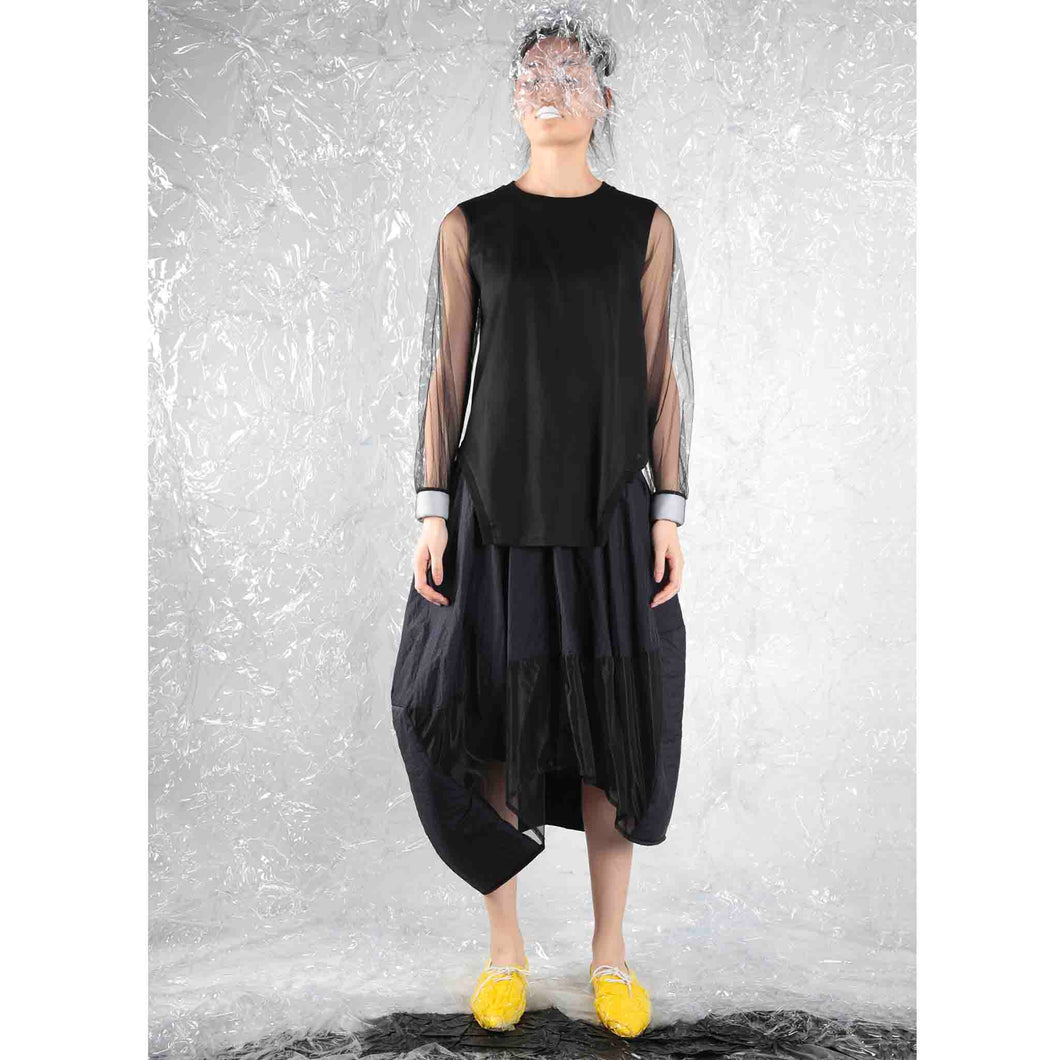 Mesh-sleeved Top with Padded Cape - phenotypsetter, fashion designer label, unisex, women, accessories