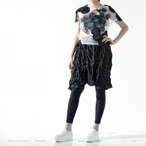 Top - Black Circle Applique Overlapped on Mesh - phenotypsetter, fashion designer label, unisex, women, accessories