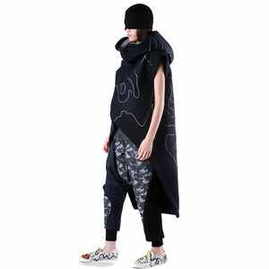 Long Coat with Big Hoodie - phenotypsetter, fashion designer label, unisex, women, accessories