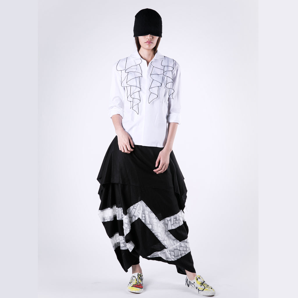 Shirt Embroidery Ruffle Organza - phenotypsetter, fashion designer label, unisex, women, accessories