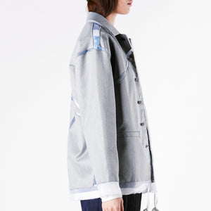Jacket - Coaches Jacket Grey Geometry with Sheer Edge - phenotypsetter, fashion designer label, unisex, women, accessories