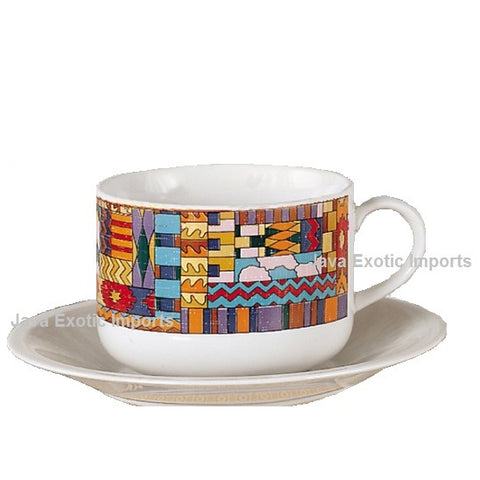 Aztec Latte Design Gift Set of 2 Cups & 2 Saucers - Java Exotic Imports