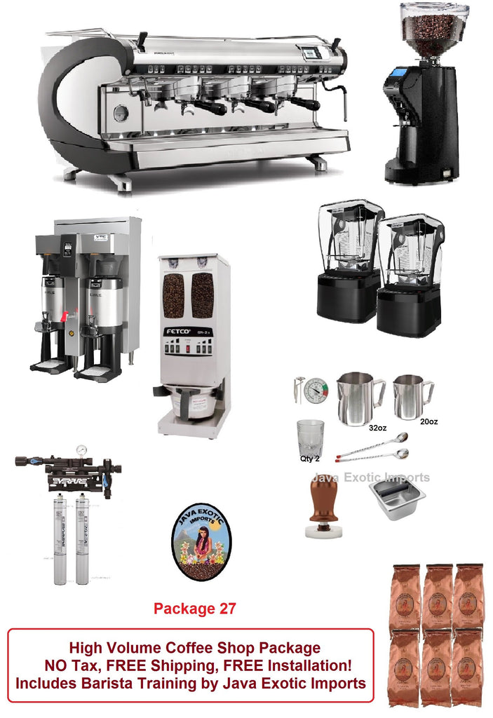 Coffee Shop Espresso machine equipment packages - NO Tax, FREE Shipping, EASY Financing! Java Exotic Imports 800-533-7214