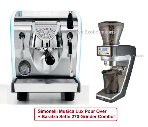 Simonelli Musica LUX POUR OVER + Sette 270 Package + Barista Kit - Java Exotic Imports