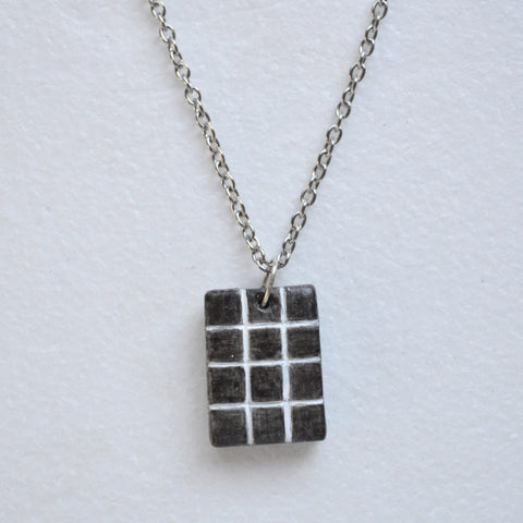 Black and White Geometric Squares Pendant