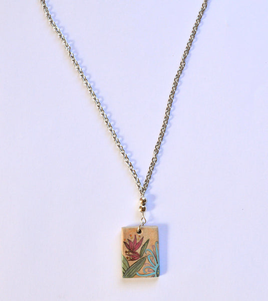 Necklace With Antique Patina Floral Pendant
