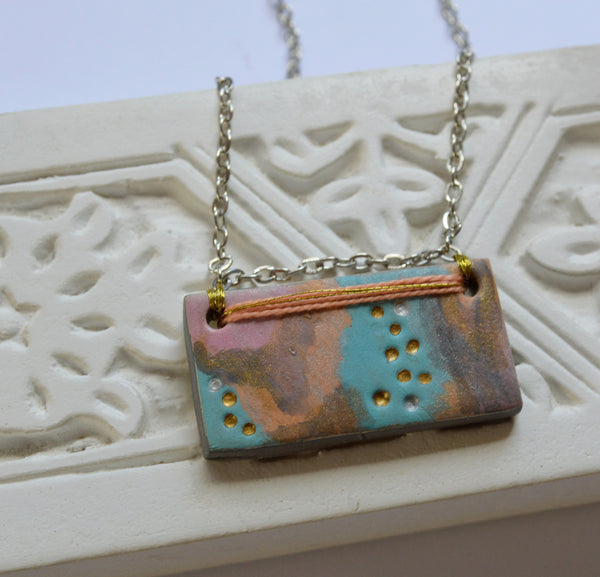 Modern Boho Necklace with Abstract Art Pendant: Risa