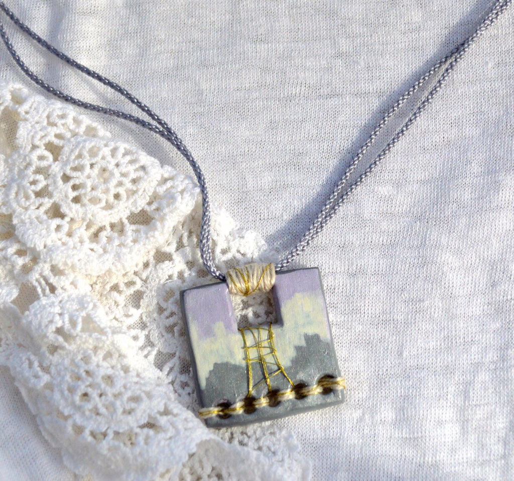 Monochromatic Boho Necklace with Cotton Cord