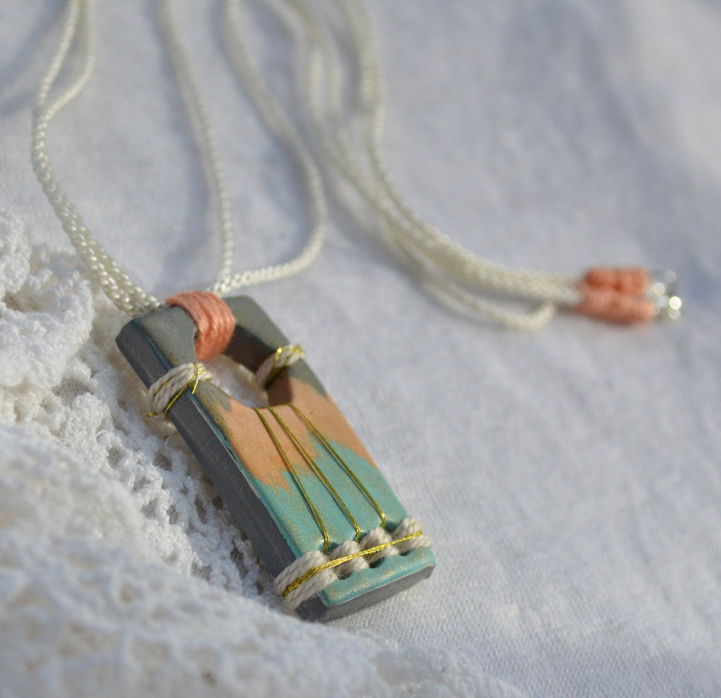 Necklace with Colorful Handpainted Bohemian Pendant