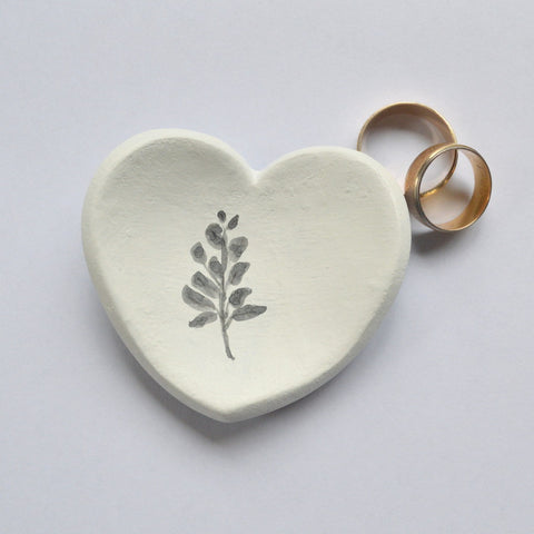 Heart Shaped Ring Dish With Botanical Illustration