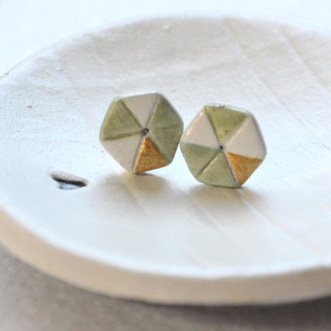 Hexagon Earrings in Green, Cream and Gold