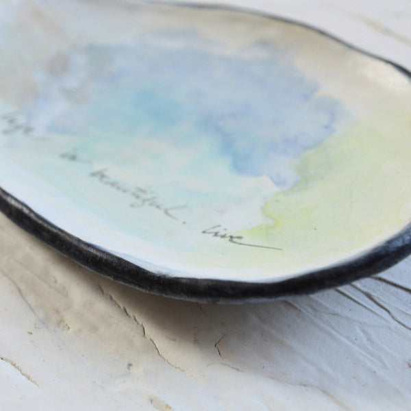 Blue and Green Watercolor Ring Dish