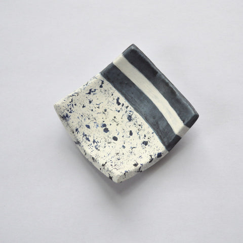 Stripes and Speckles Navy/White Ring Dish