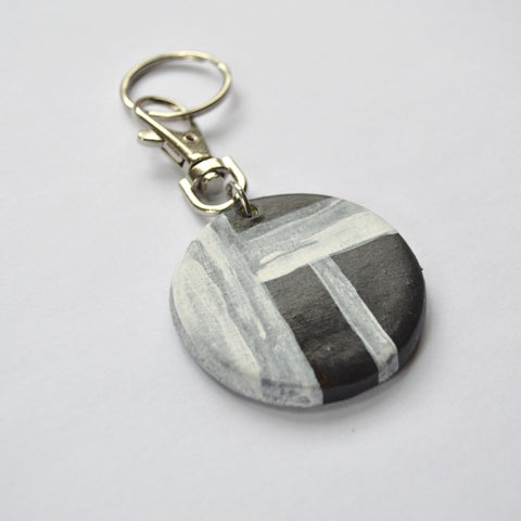 Modern Rustic, Minimalist Black and White Key Chain