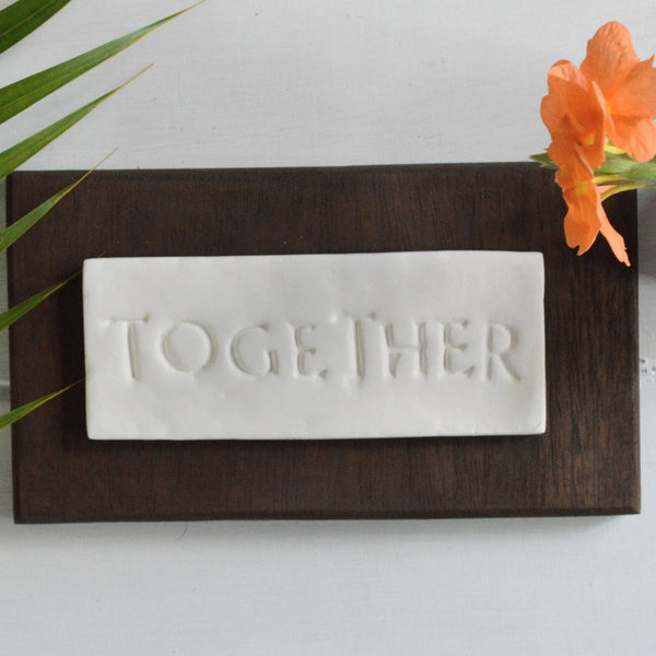 PERSONALIZABLE WALL DECOR KEEPSAKE (6-8 LETTERS) IN DARK CHOCOLATE;  Anniversary, Wedding, Hostess Gift