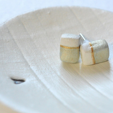 Grey Rectangular Earrings with Cream and Gold