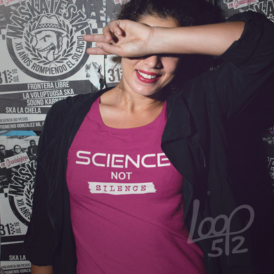 woman wearing science not silence tee shirt