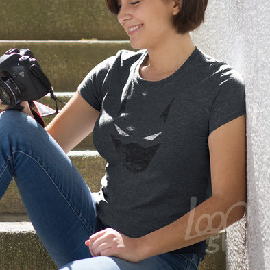 model wearing a Be a Hero Shirt - heather storm grey - womens slim fit