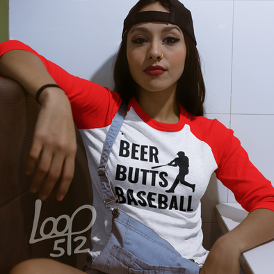 Woman wearing Beer Butts and Baseball Raglan Shirt - Loop 512