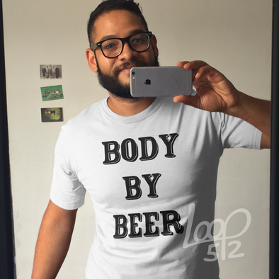 Man wearing Body By Beer Tee unisex frost white