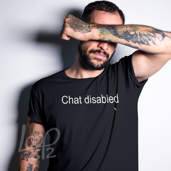 Man wearing Chat Disabled Tee unisex deep black