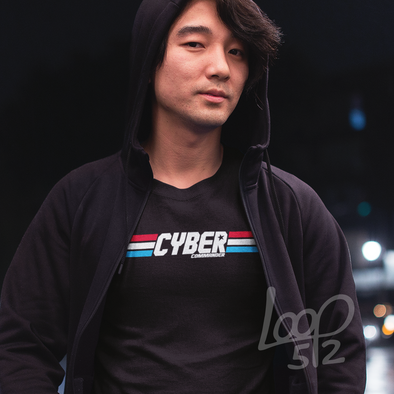 Man wearing Cyber Commander Tee unisex deep black