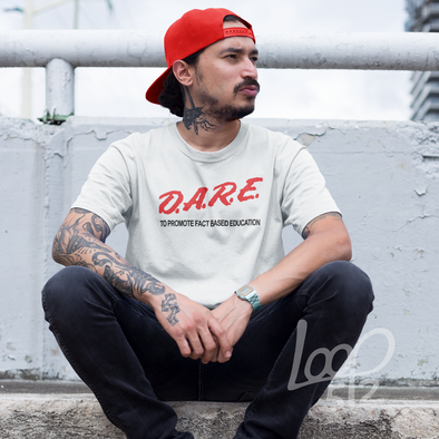 Man wearing D.A.R.E. Shirt - white - unisex fit