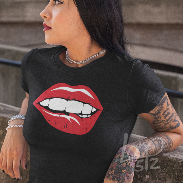 Femail wearing sexy red lips flirt shirt