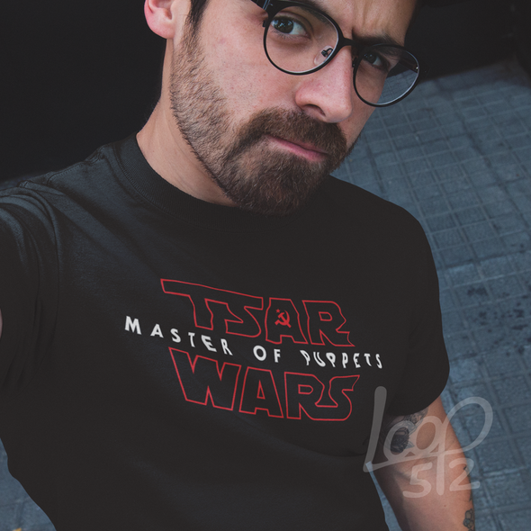 man wearing Tsar Wars T shirt