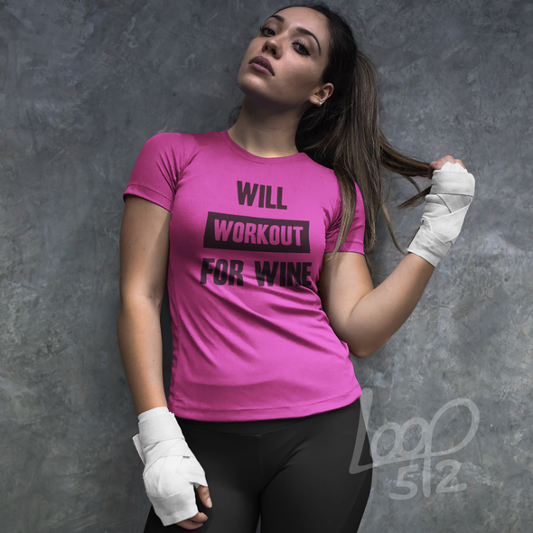 model wearing Will Workout for Wine T-Shirt womens berry