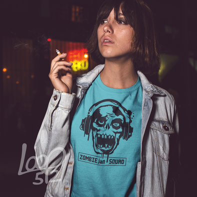 Woman wearing Zombie Jam t-shirt - Loop 512
