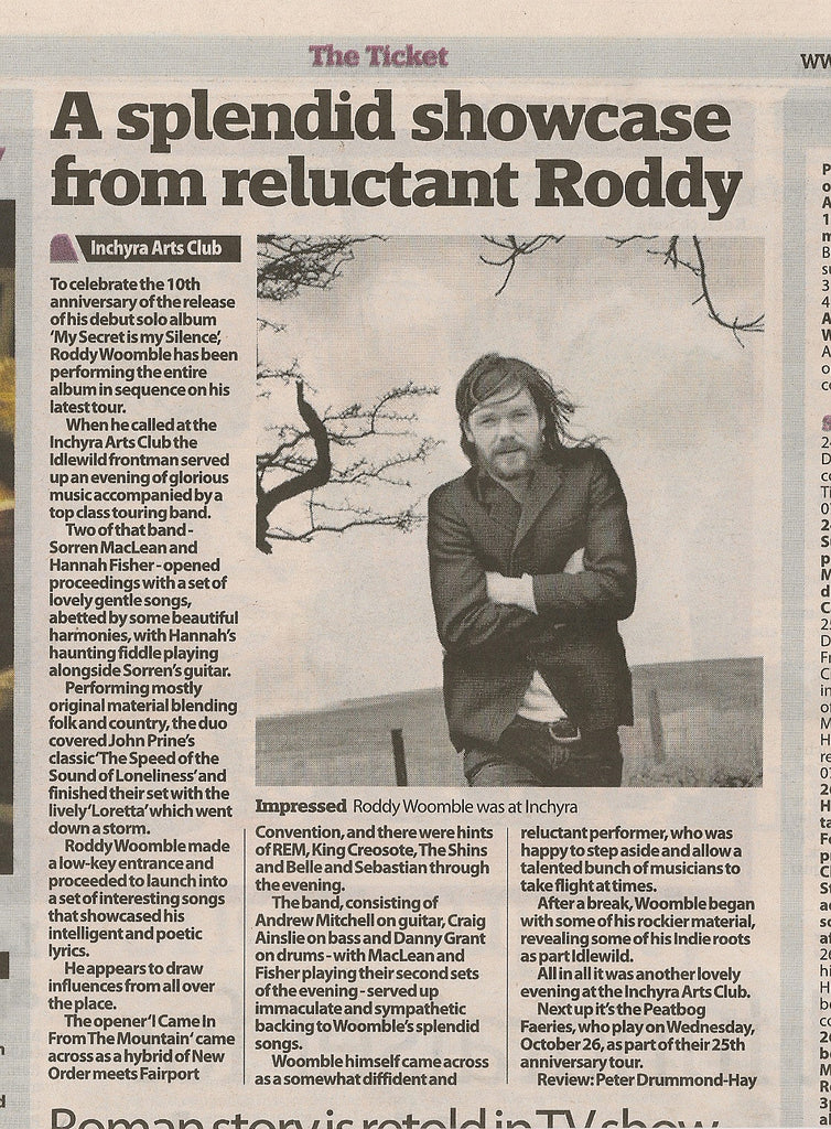 Roddy Woomble at Inchyra Review