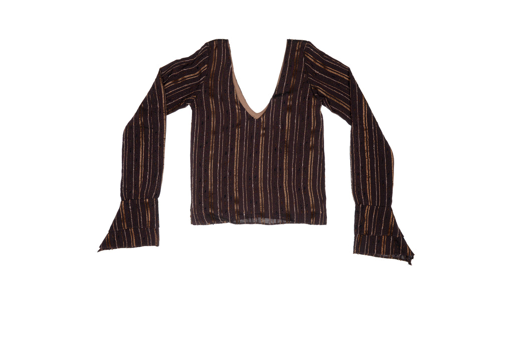Brown Stripe Storyteller V-Neck Silk Top