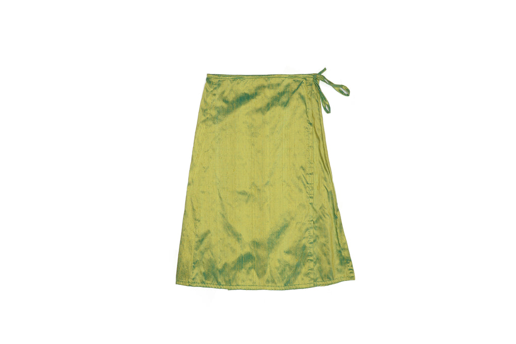 Green Silk Wrap Skirt