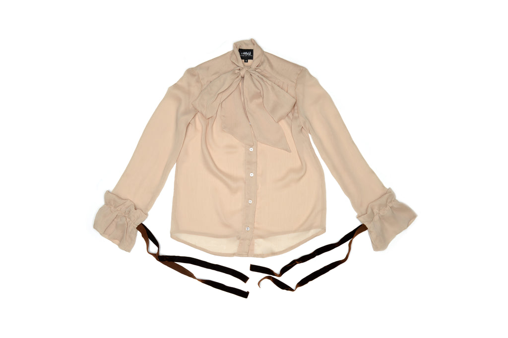 Tan Victorian Silky Pussybow Shirt