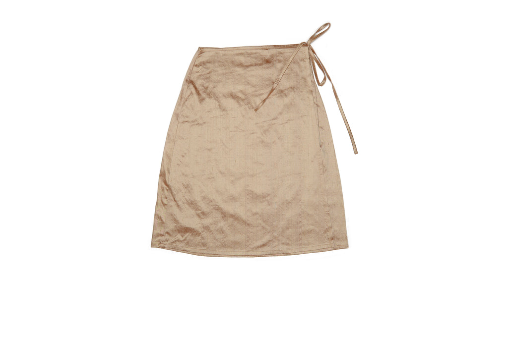 Champagne Nude Silk Wrap Skirt