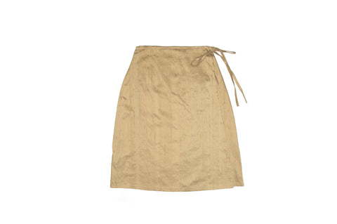 Tan Nude Silk Wrap Skirt