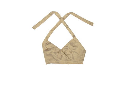 Tan Nude Silk Halter Top