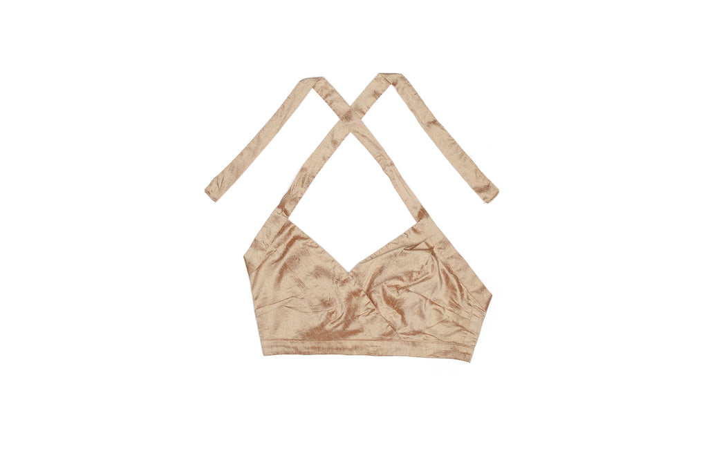 Champagne Nude Silk Halter Top